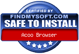 award from findmysoft.com - http://www.findmysoft.com/Acoo_Browser-download.html